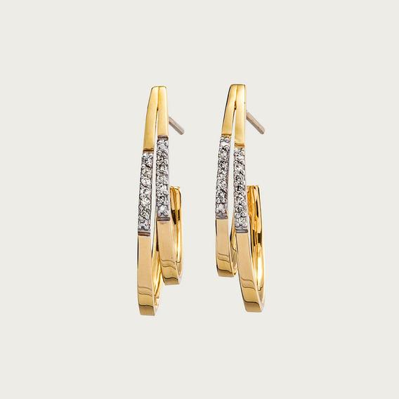 Brinco Meia Argola Em Ouro 18k (750) Com Diamantes