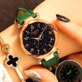Relógios De Pulso Feminino Céu Estrelado Quartzo Verde