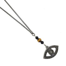 Corrente Masculina Colar De Olho Grego Amuleto Pedras Onix