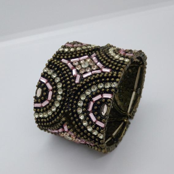 Bracelete Indiano Bronze Cristais Mulher Moda Pulseira