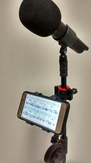Suporte Celular Smartphone P/ Pedestal De Microfone Cantores De Igrejas Músicos De Bar Karaokê Novidade
