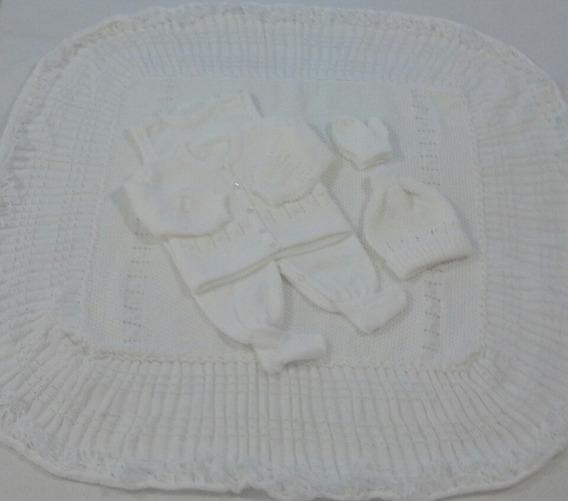 Saída Maternidade Manta Casaco Salopete Gorro Luva Ref. 153