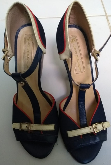 Sandália Salto Alto Azul - Tam 37 - Jorge Bischoff