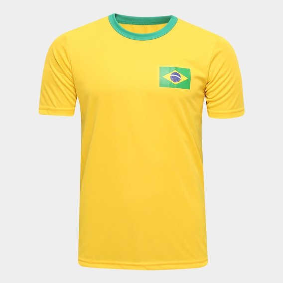Camisa Brasil Torcedor Masculina Lisa Gola Careca Seleção