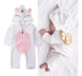 Macacão Fantasia Pijama De Bebe Menina 3d Unicornio Enxoval