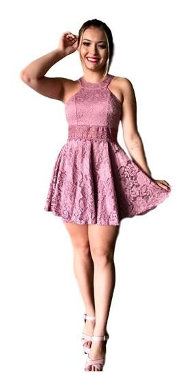 Vestido Feminino Princesa Curto De Festa Em Renda Ref58