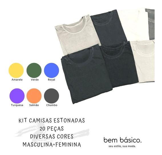 Camiseta Estonada Lisa Diversas Cores - Kit 20 Peças