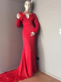 :::. Vestido Rojo De Fiesta, Gala, Con Cola, Talla S. :::