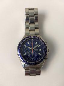 Relógio Seiko Cronógrafo Flightmaster Pilot Azul Snd255p1
