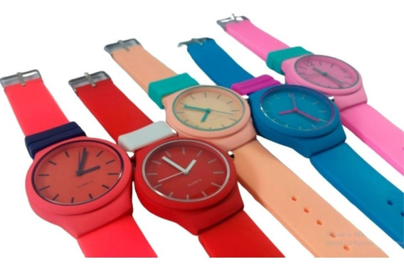 Relógio Feminino Masculino Colorido Pulseira Silicone Barato