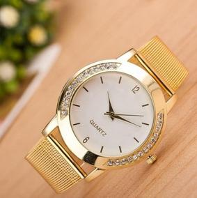 Relógio Feminino Banhado A Ouro + Kit De Joia