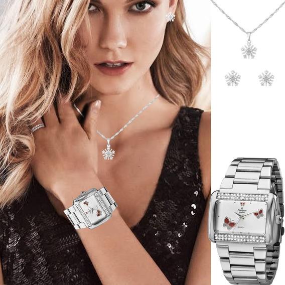 Relógio Champion Kit Feminino Prateado Quadrado Ch24179d