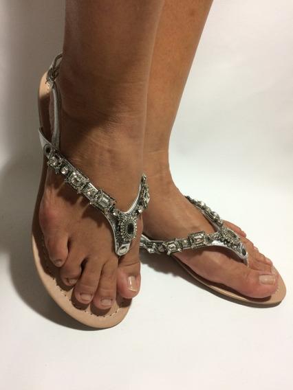 Sandália Rasteirinha Feminina Prata Pedraria Cristal Metal