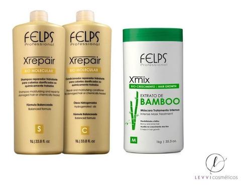 Felps Kit Xrepair Shampoo + Cond 1l + Máscara Bamboo 1kg