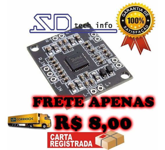 Mini Amplificador Estéreo 2x 15w Pam8610 Frete R$ 8,00