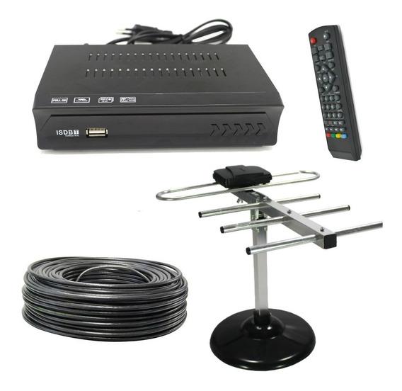 Kit Conversor Receptor Digital Tv + Antena Hdtv C/ Cabo 5mt