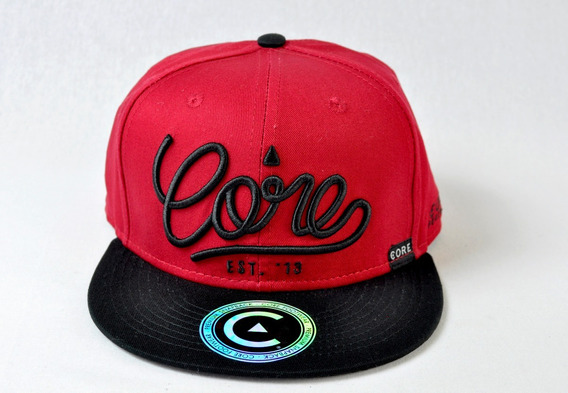 Gorra Core Footwear Color Rojo Logo Visera Plana
