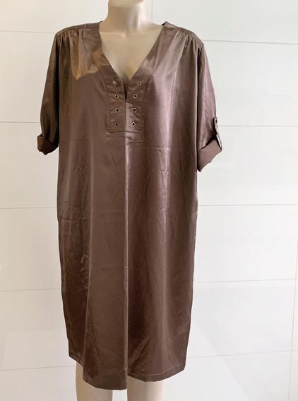 Vestido Feminino Reto Sithonia Marrom Tam.46