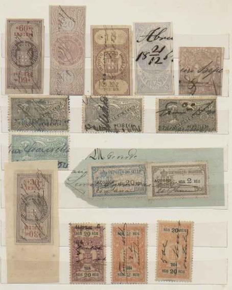 15 Selos Fiscais Diferentes De Portugal E Açores 1864/1921