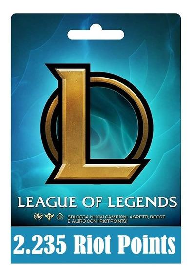 Cartão League Of Legends Lol - 2235 Riot Points Rp Br Brasil