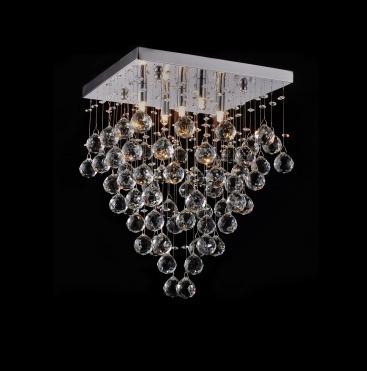Lustre Plafon Cristal Brilhante Quadrado 5lamp Alto Brilho