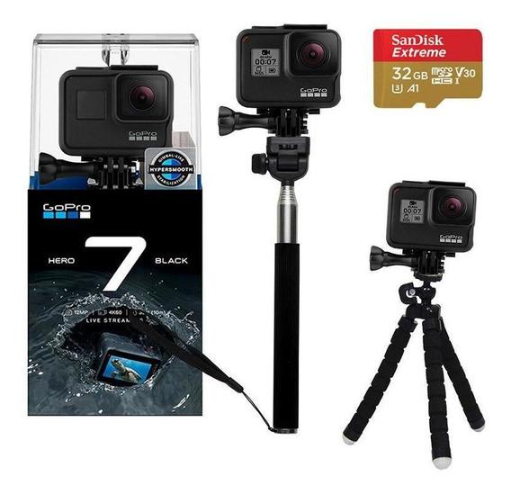 Gopro Hero 7 Black Câmera 4k + Bastão De Selfie E Mini Tripé