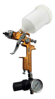 Pistola De Pintar Gravedad Hvlp Con Regulador Y Manómetro
