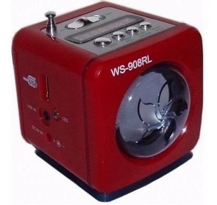 Mini Caixa De Som Ws-908rl Rádio Fm Entradas Digitais - Sort