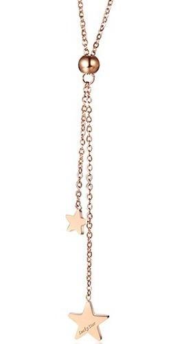 Colar Inox Feminino Cordão Com Pingentes De Estrelas Aço