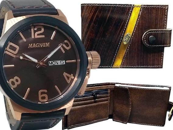 Relógio Magnum Masculino Pulseira Couro E Carteira Social