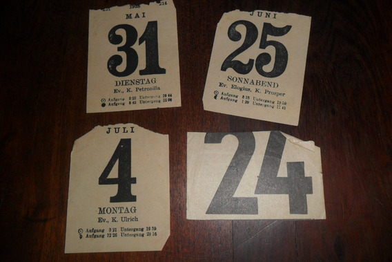 Calendario Almanaque Hojas Sueltas Antigua Papeleria