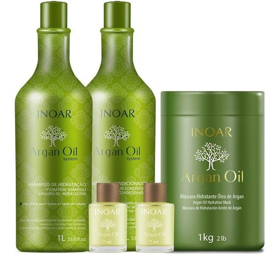Kit Shampoo + Cond 1l E Máscara 1kg Argan Oil Inoar + Brinde
