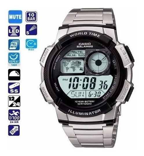 Relógio Casio Ae 1000wd Aço Crono Alarm Timer Original Promo
