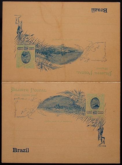 Brasil Bilhete Postal Duplo 1908 40+40rs Verdeazul