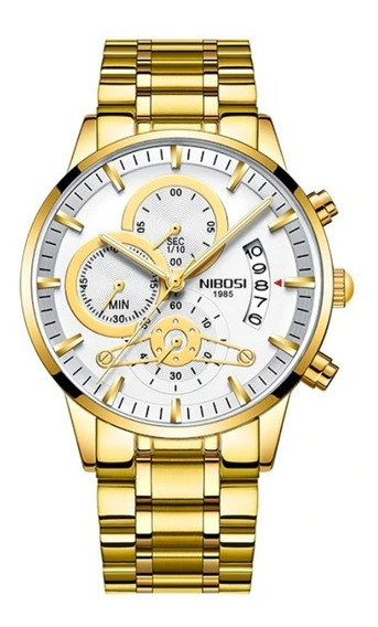Relógio Masculino Original Nibosi Aço Cronógrafo Promoção
