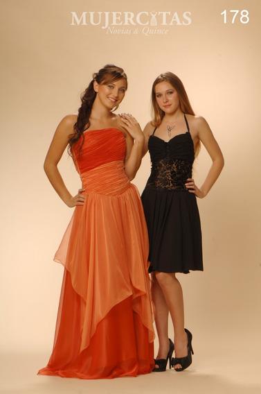 Vestido De Fiesta Naranja Hecho! O Negro Corto