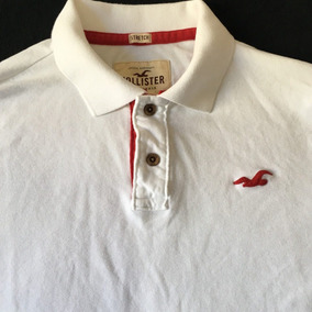 Camisa Hollister Masculina Gola Polo Stretch Branca Xl