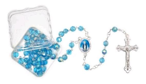Kit 12 Terços Cristal Azul 06mm De Nossa Sra Aparecida