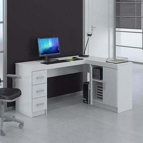 Kit Escritório Espanha Mesa Escrivaninha Branco Politorno