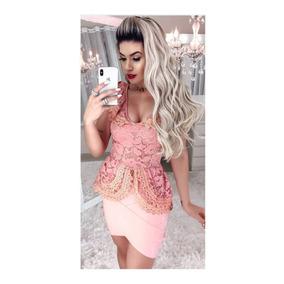 Conjunto Blusa Peplum E Saia Bengaline Rosé#