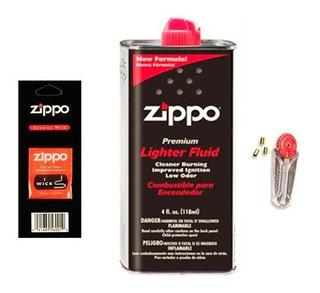 Combo Zippo Fluido + 6 Piedras + Mecha. Original