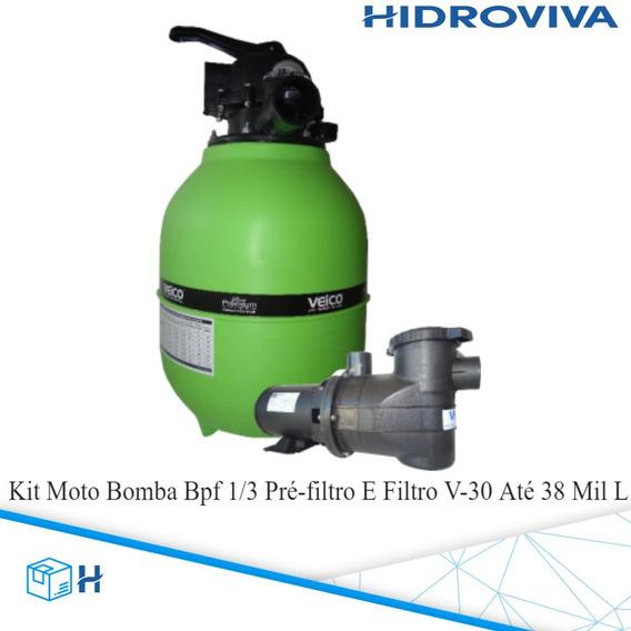 Kit Moto Bomba Bpf 1/3 Pré-filtro E Filtro V-30 Até 38 Mil L