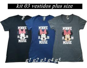 Kit 3 Vestidos Plus Size Feminino Tamanhos G1 G2 G3 G4 G5