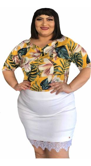 Saia Plus Size Branca Roupa De Mulher Promoção 55,00