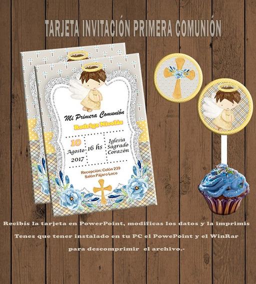Tarjeta Invitacion Editable Primera Comunion Nene 03