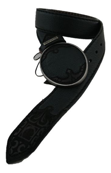 Cinturón Cuadra Hombre Piel Venado Color Negro Hebilla Metal