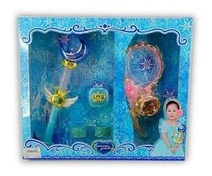 Set Princesa Encantada Con Trenza Con Luces Y Varita Magica