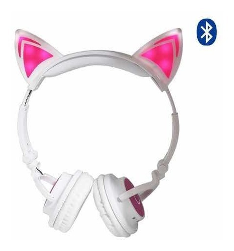 Fone Headphone Wireless Orelhas De Gato C/ Led Lc-222 - Rosa