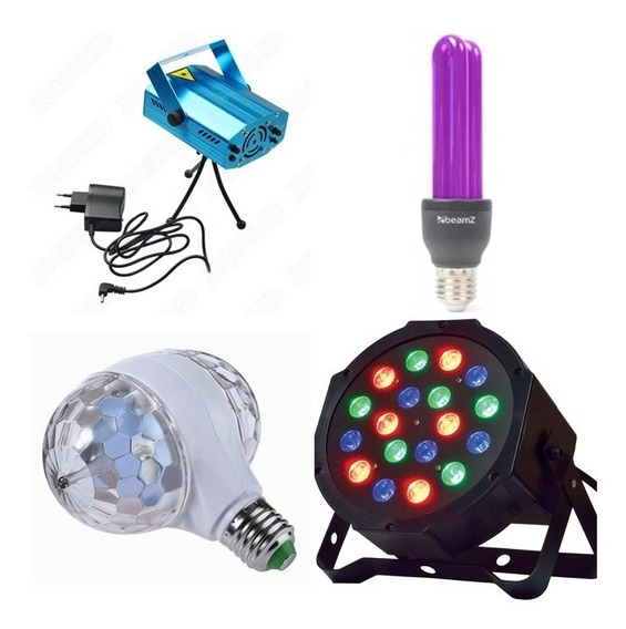 Combo Luces Fiesta Flash + Luz Negra + Laser + Lampara Doble