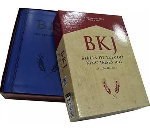 Bíblia Sagrada King James Fiel Com Estudo Holman Capa Azul
